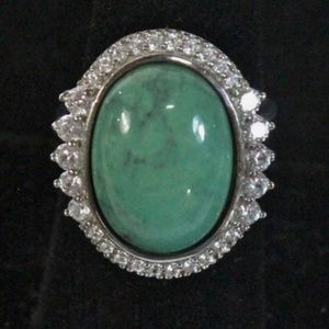 Good Golly Green 12 Carat Turquoise 925 Bling Ring